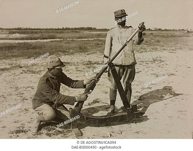 Rifle grenade launching, Trench Mortars School in Susegana, World War I, Italy, 20th century. Milan, Museo Nazionale della Scienza e della Tecnica 'Leonardo Da...