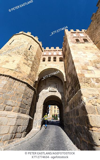 The San Andres Gate and city walls by the Jewish Quarter in Segovia, Spain