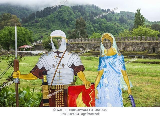 Georgia, Batumi, Gonio-Apsaros Fortress, 7th century, midieval costume cutouts for tourists