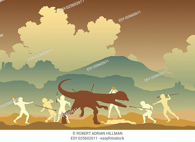 Editable vector illustration of cavemen fighting a Dilophosaurus dinosaur in a primeval landscape