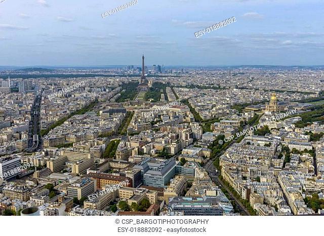 Aerial view of Paris taken from Montparnasse Tower