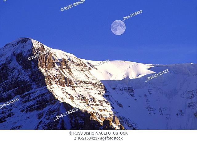 Moonrise and evening light on Mount Andromeda, Columbia Icefields area, Jasper National Park, Alberta, Canada