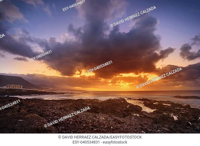 Sunset in Punta del Hidalgo, north Tenerife coastline, Canary islands, Spain
