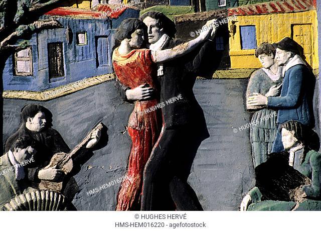 Argentina, Buenos Aires, La Boca, tango dancers' fresco in the Caminito district