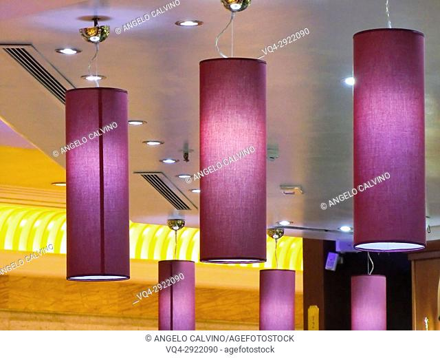 Details of lightings in EUROMA2 Shopping Mall, Rome, Lazio, Italy