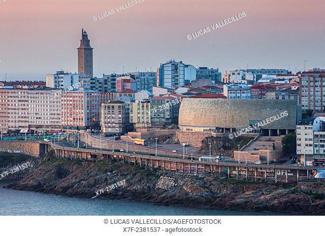 view of the city in Ensenada del Orzan,Tower of Hercules, Roman lighthouse and Casa del Hombre, Museo Domus, The mankind Museum, by Arata Isozaki, Coruña city