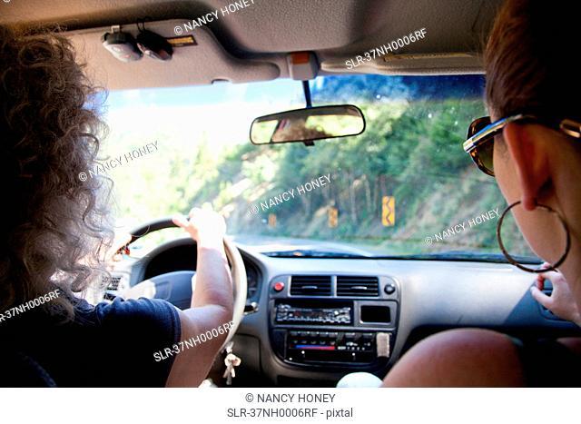 Women riding in car