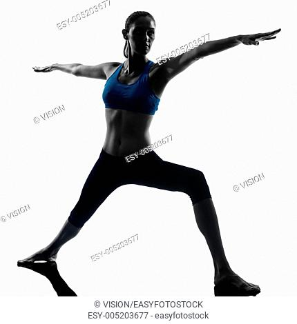 one caucasian woman exercising yoga warrior 2 position in silhouette studio isolated on white background