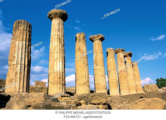 Hercules (Herakles) Temple. Valley of temples. Agrigento. Sicily. Italy