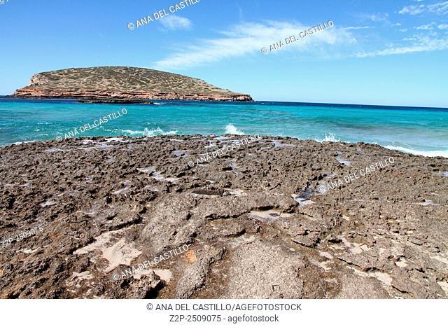 Cala Comta Ibiza coast Balearic islands Spain
