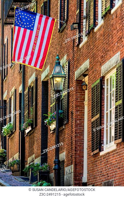 Acorn Street Details - One of the last true cobblestone streets left in Boston, Massachusetts, is located in the famous Acorn Street at Beacon Hill