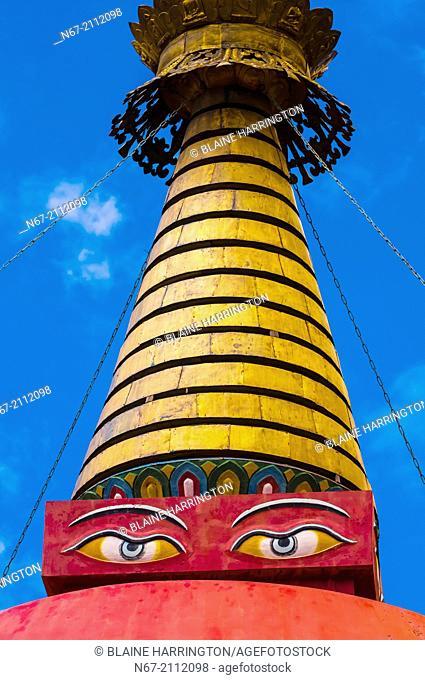 One of four large stupas (white, red, black and white) at Samye Monastery, Chatang, Lhoka (Shannan) Prefecture, Tibet (Xizang), China