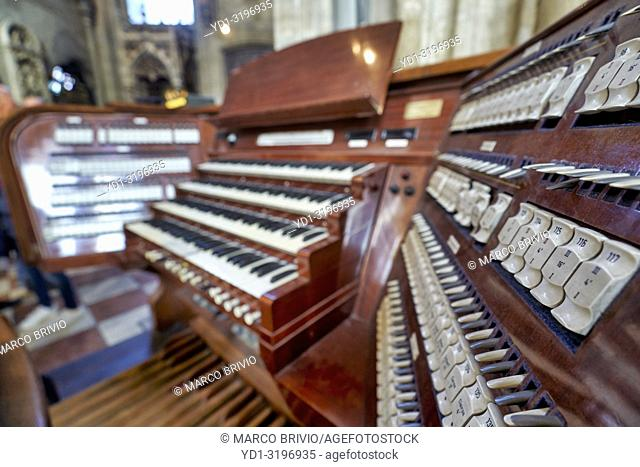 The keyboard of the organ of Stephansdom St. Stephen's cathedral in Vienna Austria