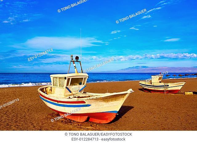 Almeria Cabo de Gata San Miguel beach boats in Spain