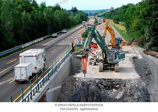 Demolition of a highway bridge