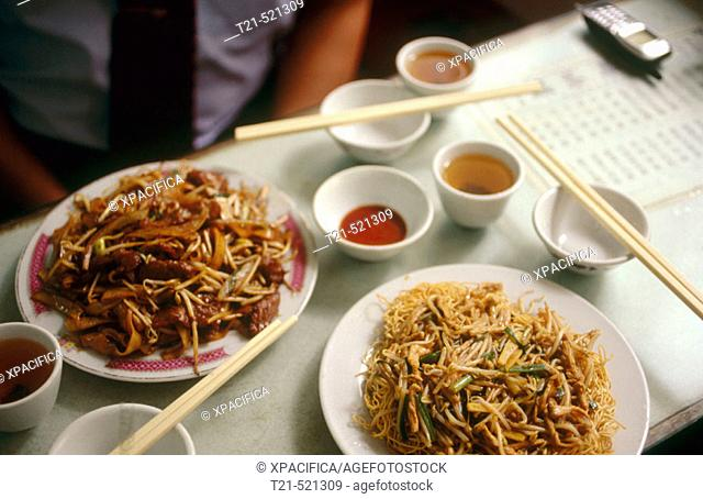 A plate of noodles in a restaurant in Macau, the former Portuguese colony. China