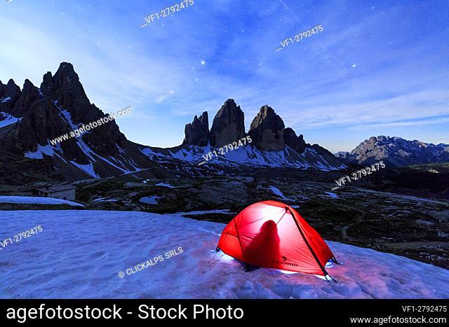 Camping at the Three Peaks of Lavaredo . Sesto Dolomites Trentino Alto Adige Italy Europe