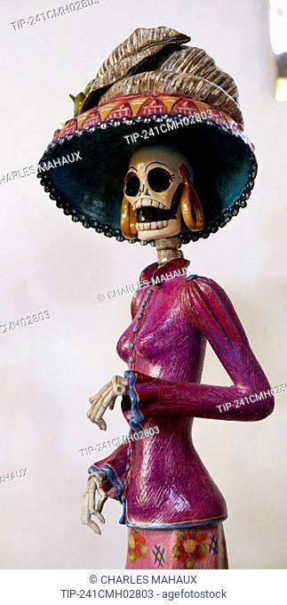 America, Mexico, Michoacán state, Morelia area, Capula village, doll catrinamade in ceramic