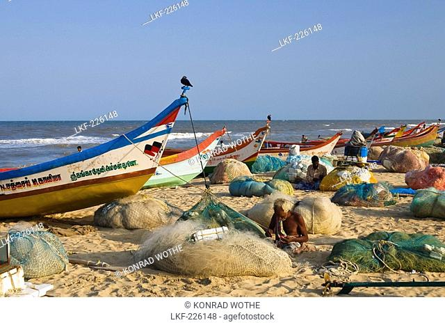 fishermen at Marina Beach, Chennai, India