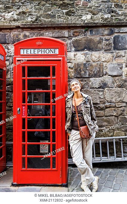 Telephone box. Edinburgh Castle. Scotland, UK, Europe