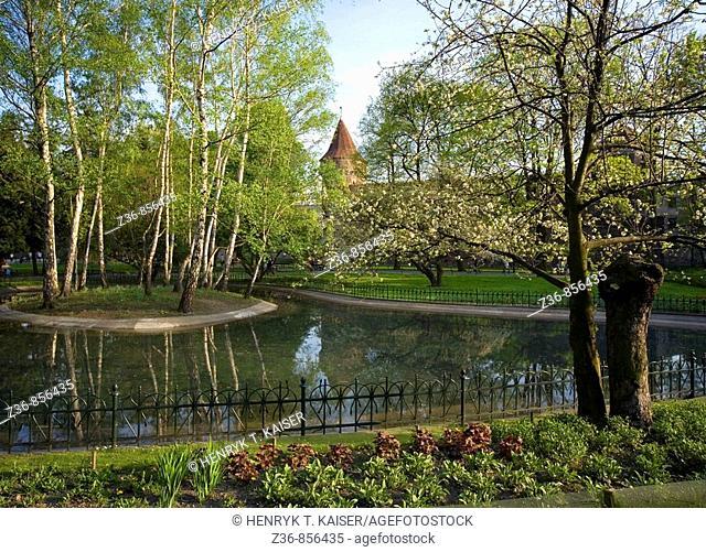 Poland Krakow, Planty, walkaway park around Old Town
