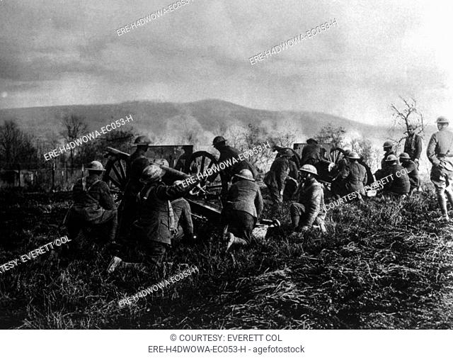 World War I, American 'colored' troops of the 351st Field Artillery, 92nd Division, firing in maneuvers at Maidieres, Mousson, U