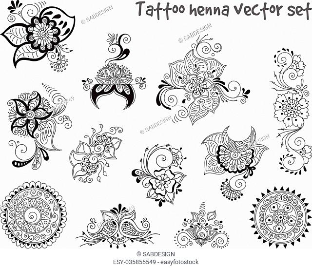 Vector abstract patterns of tattoo henna. Zentangle, paisley and flower. Stock mehndi set for design on white background