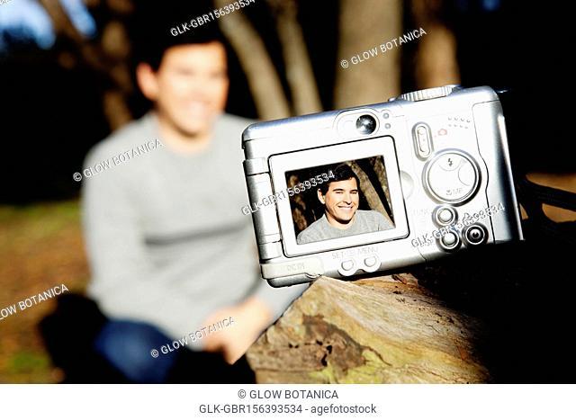Picture of a man in digital camera
