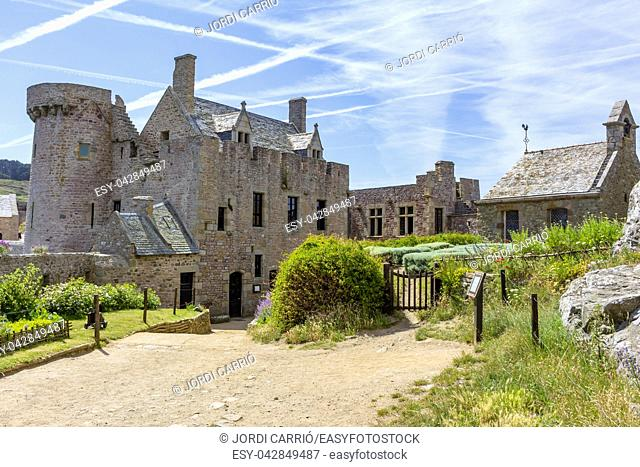 View of the interior courtyard of the Fort la Latte on the Côtes-d'Armor, in French Brittany