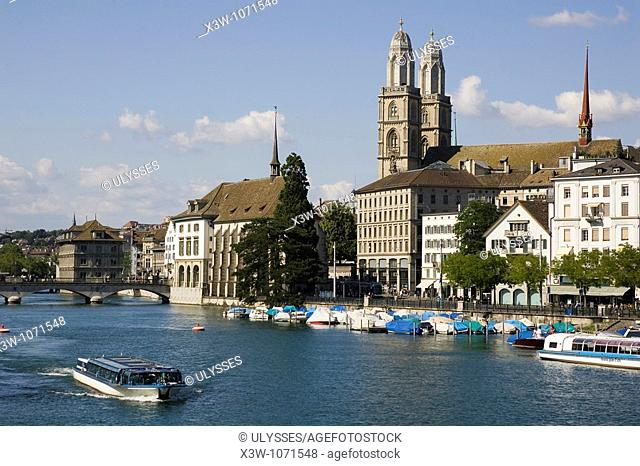 europe, switzerland, zurich, old town, limmat river, grossmunster church