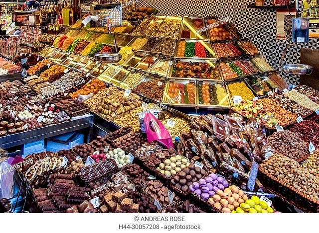 Barcelona, La Rambla, Market stall selling sweets, Mercat de La Boqueria, Mercat de Sant Josep, Spain, display, old market halls, ??Catalonia