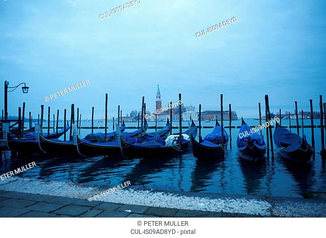 Morning view of gondolas, Venice, Italy