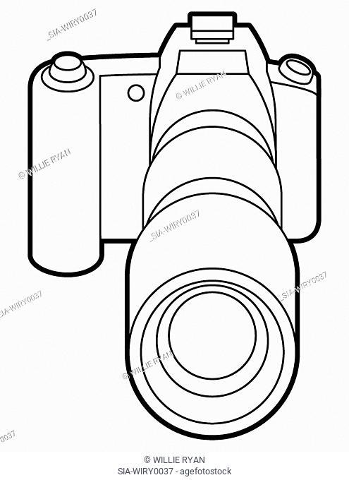 Camera on white background