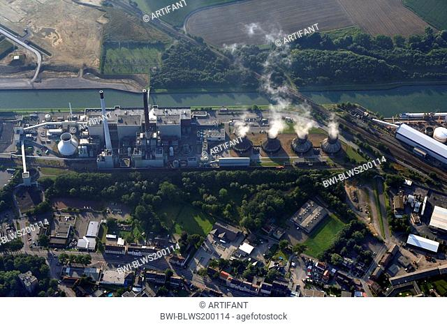 power station and cooling towers near Dortmund-Ems Canal, Germany, North Rhine-Westphalia, Ruhr Area, Datteln