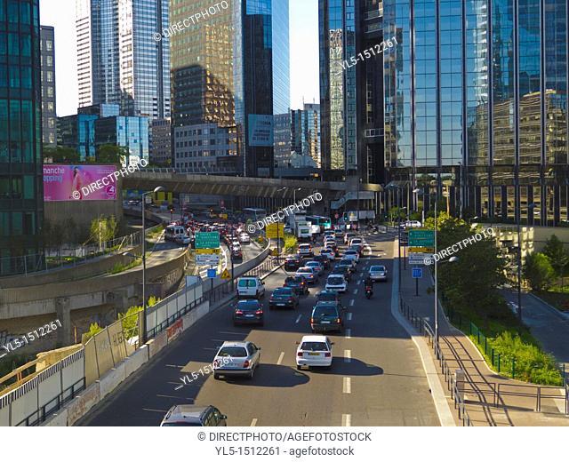 Paris, France, La Défense Business Center, Views, Street Scene, Traffic on Ring Road