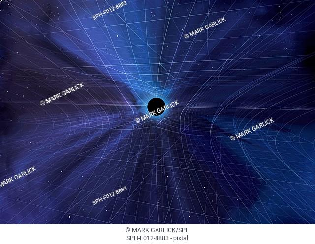 Curvature of space-time. Computer artwork of a black hole curving space-time according to Einstein's General Theory of Relativity