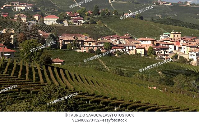 Panoramic view of Barolo, Langhe, Piedmont, Italy