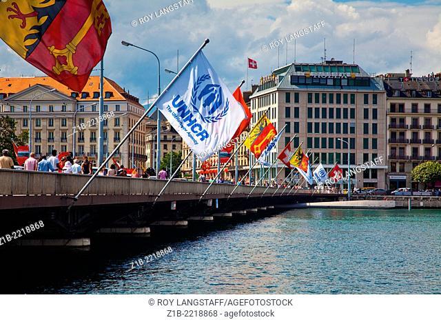 Flags flying on the Pont du Mont Blanc in Geneva, Switzerland