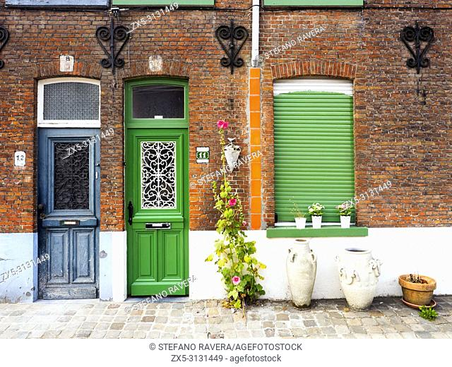 Building facade in Coupure street - Bruges, Belgium