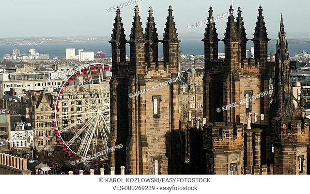 Edinburgh Cityscape with The Assembly Hall and Christmas Market in Scotland, United Kingdom