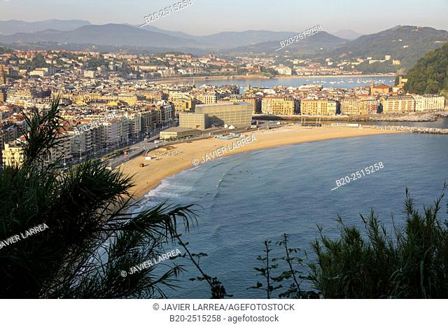 La Zurriola beach and La Concha Bay. Donostia. San Sebastian. Gipuzkoa. Basque Country. Spain