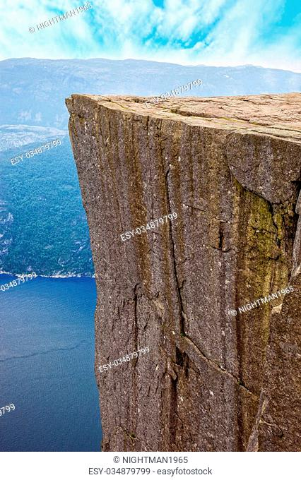 Side view of famous Pulpit Rock above Lysefjord in Norway
