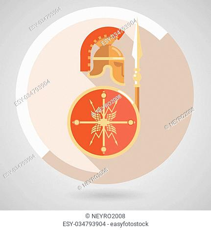 Ancient Warrior Icon with Gold and Red Helmet Spear and Shield