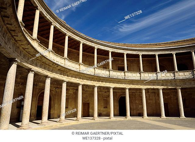 Mannerist inner circular patio in Palace of Charles V Alhambra Granada Spain