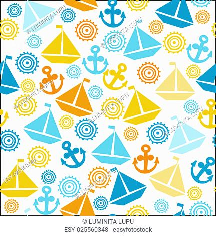 Cartoon seamless pattern with sail boats, anchors and stylized sun, background for kids
