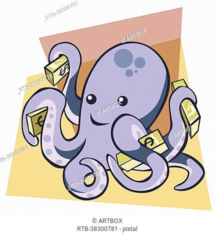 Close-up of an octopus holding bundles of dollar bills