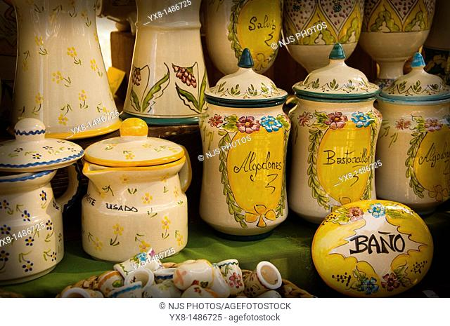 Pottery vases decorated in a sample of handcrafts in Madrid, Spain, Europe