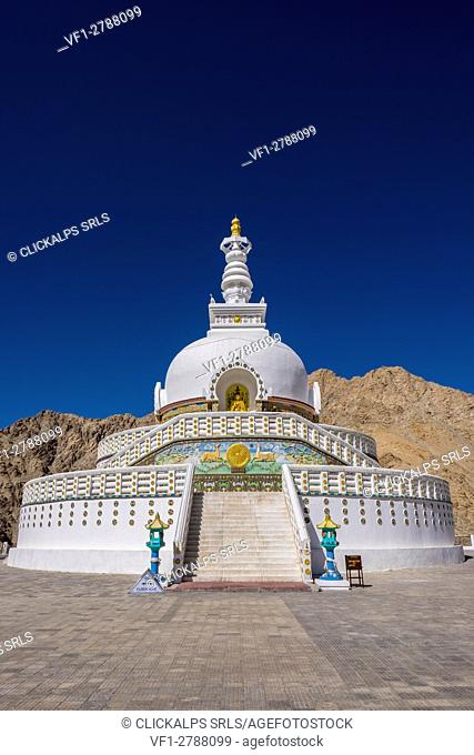 Leh, Ladakh, North India, Asia. Shanti Stupa
