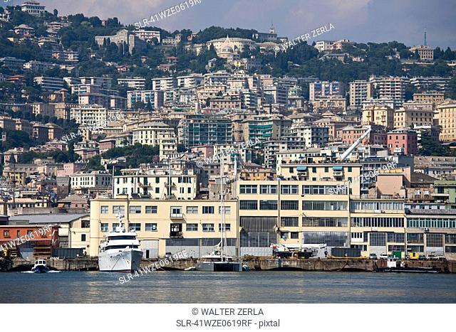 Urban apartment buildings on coastline