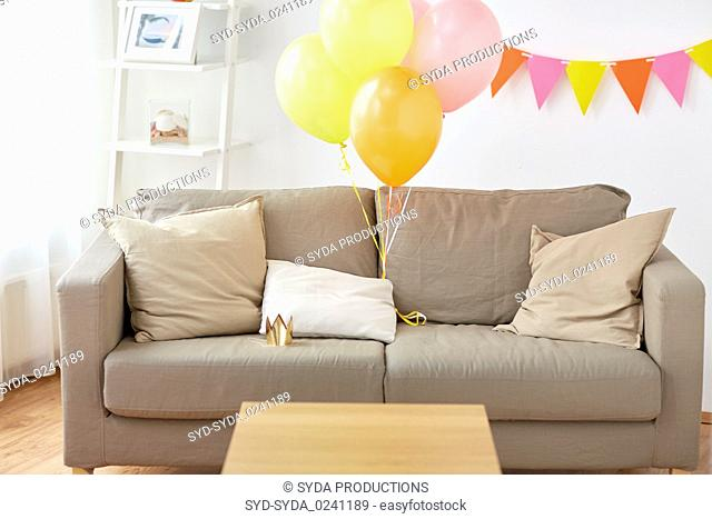 sofa at home room decorated for birthday party